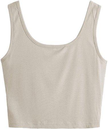 SweatyRocks Women's Sleeveless Casual Ribbed Knit Shirt Basic Crop Tank Top Beige M at Amazon Women's Clothing store