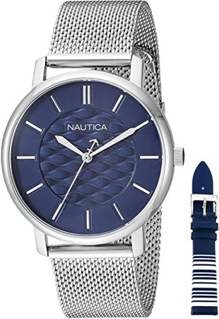 Nautica Women's Coral Gables Japanese-Quartz Watch with Stainless-Steel Strap, Silver, 18.1 (Model: NAPCGP907: Nautica: Watches