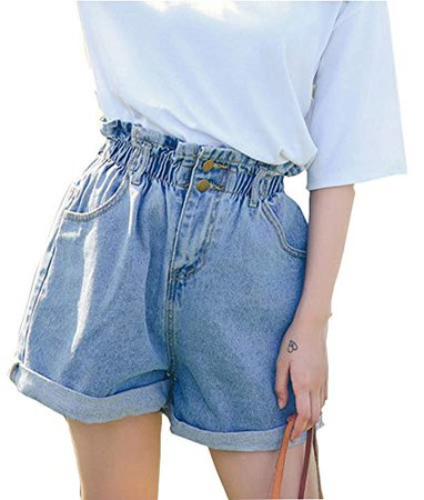 Plaid&Plain Women's High Waisted Denim Shorts Rolled Blue Jean Shorts at Amazon Women's Clothing store: