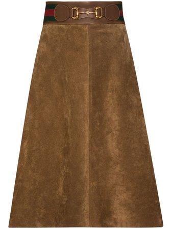 Brown Gucci horsebit-embellished midi skirt - Farfetch