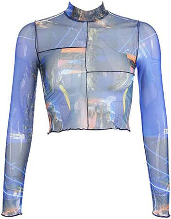 MIZOK Women's Long Sleeve See Through Shirts Star Printed Mesh Crop Tops Tee (S, Black-2) at Amazon Women's Clothing store