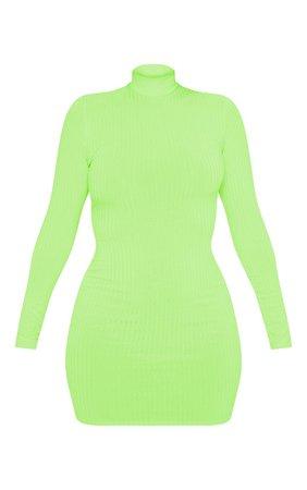 Green Neon Roll Neck Bodycon Mini Dress | Dresses | PrettyLittleThing USA