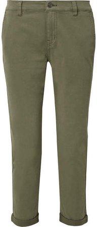 The Confidant Cotton-blend Twill Straight-leg Pants - Green