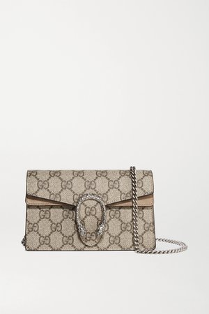 Beige Dionysus super mini printed coated-canvas and suede shoulder bag | Gucci | NET-A-PORTER