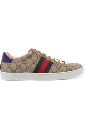 Gucci | Ace GG Supreme metallic watersnake-trimmed logo-print coated-canvas sneakers | NET-A-PORTER.COM