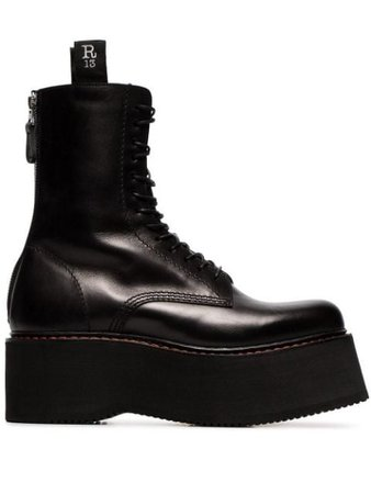 Shop black R13 black Double Stack lace-up leather boots with Express Delivery - Farfetch