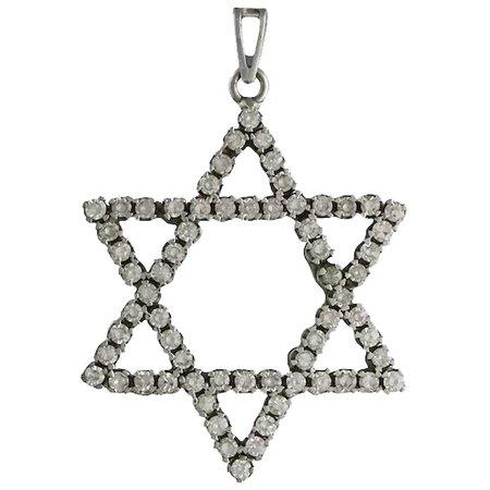 Vintage 18K White Gold Diamond Star Of David Pendant : Acanthus Antiques   Ruby Lane