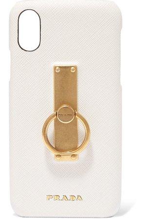 Prada | Embellished textured-leather iPhone X case | NET-A-PORTER.COM
