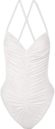 Butterfly Mio Ruched Swimsuit - White