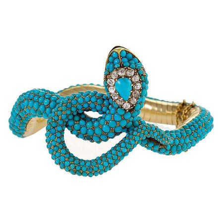 Victorian Diamond and Turquoise Snake Bangle Bracelet For Sale at 1stDibs