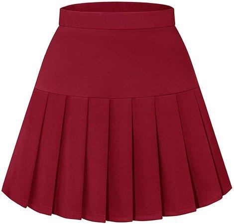 Amazon.com: Homrain Women's Girls Pleated Skirt Stretch Waist School Cosplay Uniform Skater Casual Mini Skirt Red M: Clothing