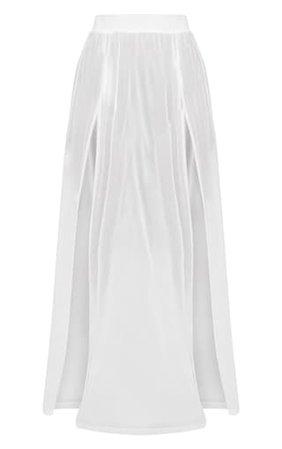 Minah White Mesh Maxi Skirt | Bras | PrettyLittleThing USA