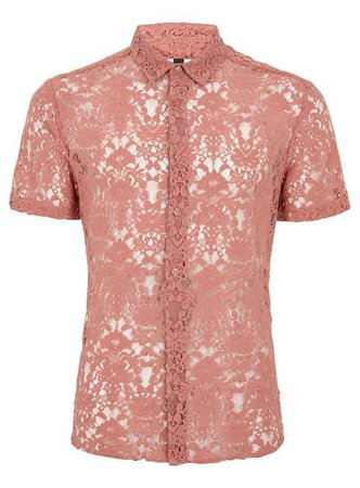 21Buttons Mens Pink Lace Rose Shirt, Pink from Topman on 21 Buttons