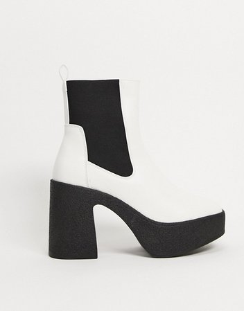 Public Desire Trooper chunky heeled chelsea boots in off white | ASOS