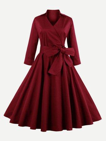 Surplice Wrap Tie Waist Dress