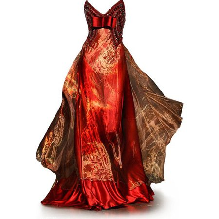 Red/Yellow/Orange 'Fire' Evening Gown