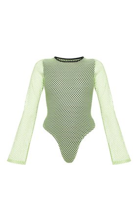 Neon Lime Fishnet Long Sleeve Bodysuit - Bodysuits - Tops - from £4 - Clothing | PrettyLittleThing