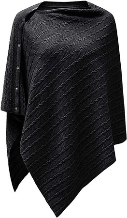 Womens Cable Pattern Lightweight Kintted Poncho Sweater with Shell Button, Versatile Scarf Shawl Cape for Spring Summer Autumn, Black at Amazon Women's Clothing store