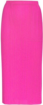 high-waisted plisse midi skirt
