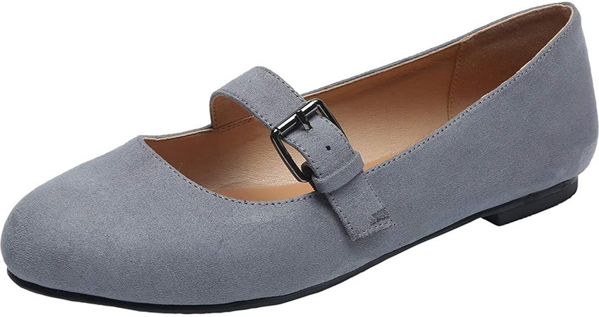 Amazon.com | Aukusor Women's Wide Width Flat Shoes - Cozy Pointy Toe Slip On Ballet Flat.(Grey 181172, 10W) | Flats
