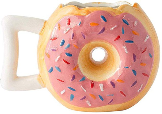 "Ceramic Donut Mug - Delicious Pink Glaze Doughnut with Sprinkles - Funny""MMM. Donuts!"" Quote - Best Cup for Coffee, Tea, Hot Chocolate and More - Large 14 oz: Amazon.ca: Home & Kitchen"