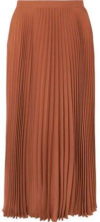 Pleated Silk Midi Skirt - Orange