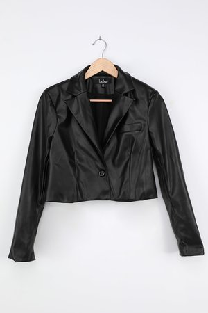 Black Cropped Blazer - Vegan Leather Blazer - Faux Leather Jacket - Lulus