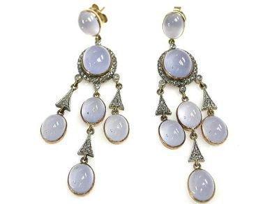 Victorian Style Chalcedony Earrings