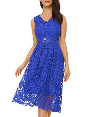 Amazon.com: Women's Vintage Floral Lace Dress V-Neck Sleeveless Midi Dress for Cocktail Party: Clothing