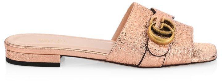GG Buckle Marmont Metallic Leather Flat Sandals