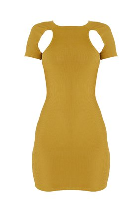 Olive Rib Underarm Cut Out Bodycon Dress | PrettyLittleThing USA