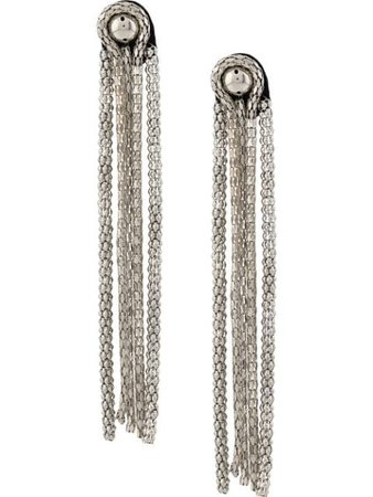 Christopher Kane Chain Fringe Leather Earrings RE20CHAINEARRINGLEATHERANDCHAINSILVERBLACK Silver | Farfetch