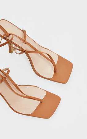 Sand Pu Toe Thong Ankle Tie Lace Up Sandals | PrettyLittleThing USA