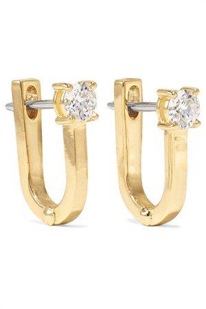 Melissa Kaye | Aria U Huggie 18-karat gold diamond earrings | NET-A-PORTER.COM