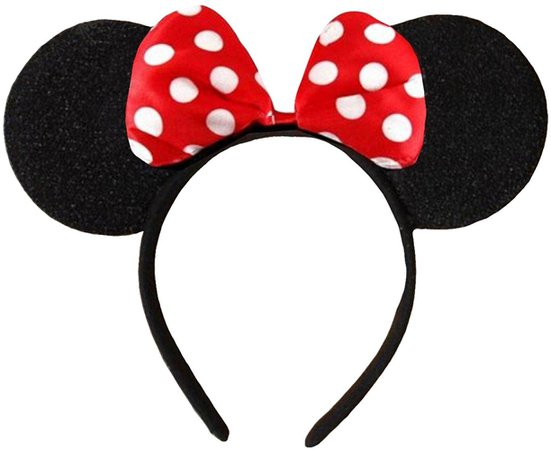 Amazon.com: DangerousFX Black with Red Bow and White Polka Dot Minnie Mouse Disney Fancy Dress Ears Head Band: Clothing