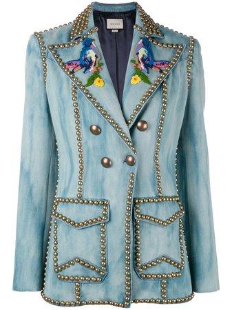 Gucci Embroidered Studded Denim Blazer | Farfetch.com