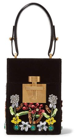 Alibi Mini Embellished Velvet Clutch - Black