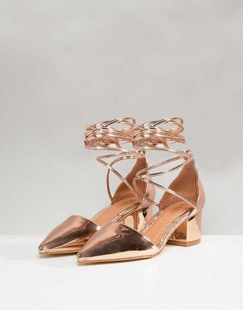 Raid | RAID Lucky Rose Gold Ankle Tie Block Heeled Shoes
