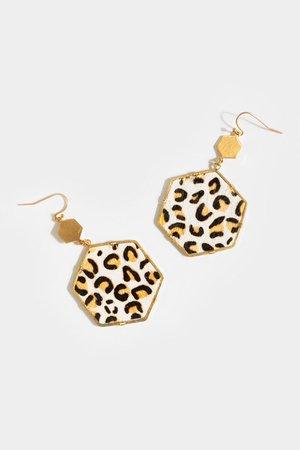 Georgia Cheetah Hexagon Drop Earrings | francesca's