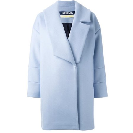 Jacquemus baby blue 100% wool lined coat with an... - Depop