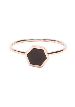 Black Hexagon Ring Rose Gold - Happiness Boutique