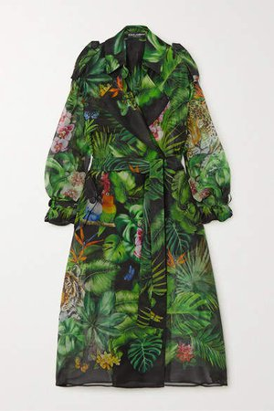 Oversized Printed Silk-organza Trench Coat - Green