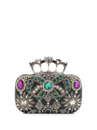Alexander Mcqueen Embroidered Four-Ring Clutch 6041341MAPY Black | Farfetch