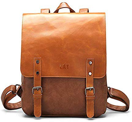 Amazon.com: LXY Vegan Leather Backpack Vintage Laptop Bookbag for Women Men, Brown Faux Leather Backpack Purse College School Bookbag Weekend Travel Daypack: Gateway