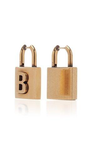 Lock S Antiqued Brass Earrings By Balenciaga   Moda Operandi