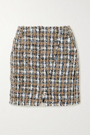 Hunch Checked Boucle-tweed Mini Skirt - Gray
