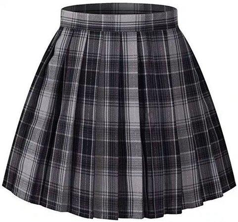 Black plaid pleated skirt 1
