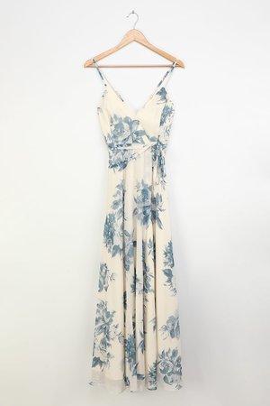 Cream and Blue Floral Print Dress - Wrap Dress - Maxi Dress - Lulus