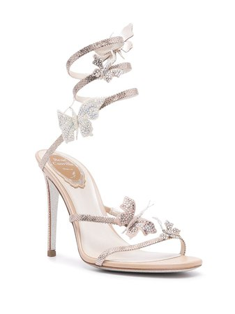 René Caovilla metallic-effect Wraparound Sandals - Farfetch