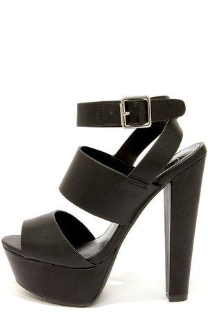 Black Platform Chunky Sandal Heels